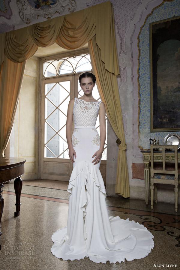 alon livne bridal 2015 marina sleeveless sheath wedding dress open lacework bodice
