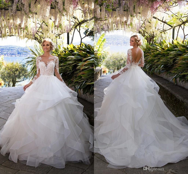Ruffled Skirt Wedding Dresses Luxury 2018 Ruffle Skirts Backless Wedding Dresses Illusion Long Sleeves Appliqued Ball Gowns Bridal Wedding Gowns Chiffon Wedding Dress Chinese Wedding