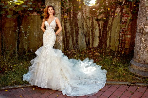 eve of milady beaded lace ruffled skirt fit and flare with sweetheart neckline wedding dress 600x397