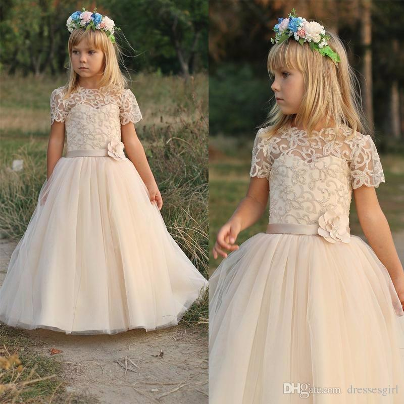 Rustic Wedding Flower Girl Dresses Unique 2017 Country Wedding Flower Girl Dresses with Short Sleeve Lace Appliques Beaded Hand Made Flower Princess evening Girl Pageant Dress