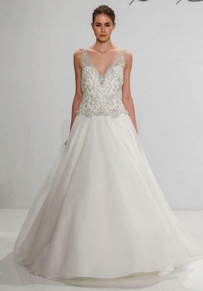 dennis basso v neck beaded silk a line wedding dress 419x600