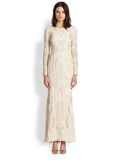 Saks Wedding Dresses Beautiful Needle & Thread Sequined & Embroidered Gown Saks