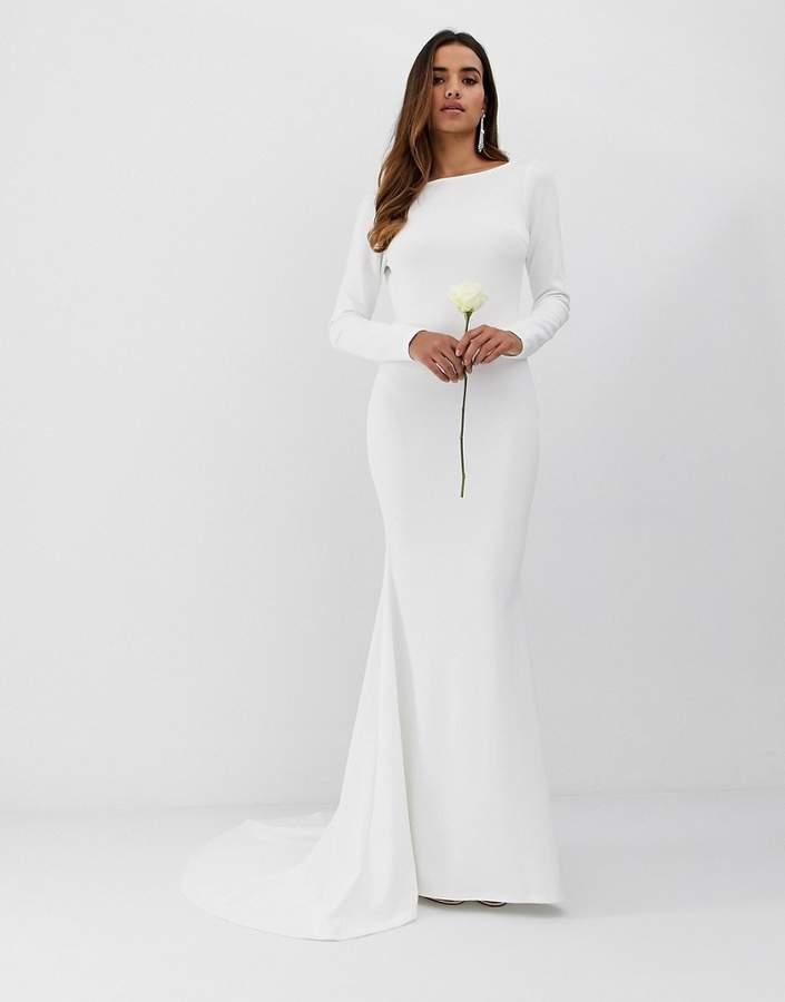 Club L London low back crepe detail fishtail wedding dress
