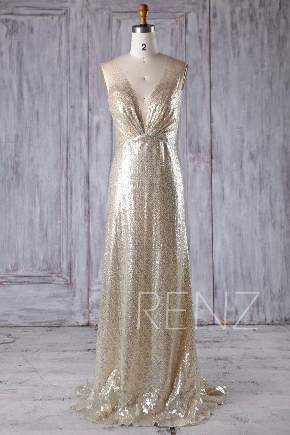 evening gowns for weddings luxury gold silver mix bridesmaid dress deep v neck wedding dress
