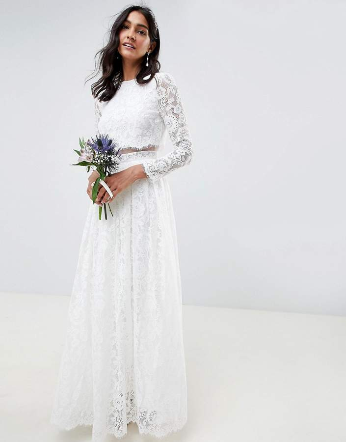 Asos Edition EDITION lace long sleeve crop top maxi wedding dress