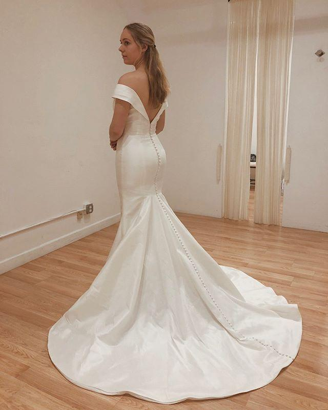 Satin A Line Wedding Dresses Best Of Cheap F Shoulder Satin Bridal Dress Backless Mermaid Long