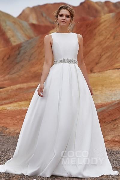 Satin A Line Wedding Dresses Elegant A Line Court Train Mikado Wedding Dress Ld3845