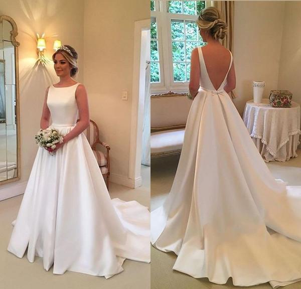 Satin A Line Wedding Dresses Luxury Discount Simple Ivory Wedding Dresses A Line Spaghetti Strap Backless Wedding Gowns Chapel Train Bow formal Women Bridal Dresses Brautkleider 2018