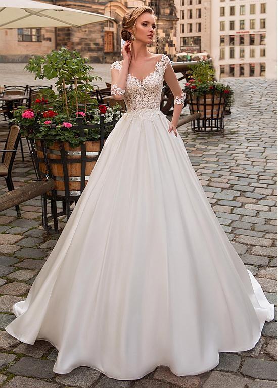Satin A Line Wedding Dresses New Magbridal Modest Tulle & Satin Scoop Neckline A Line Wedding