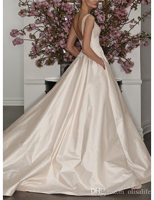 vintage satin wedding dresses a line boat