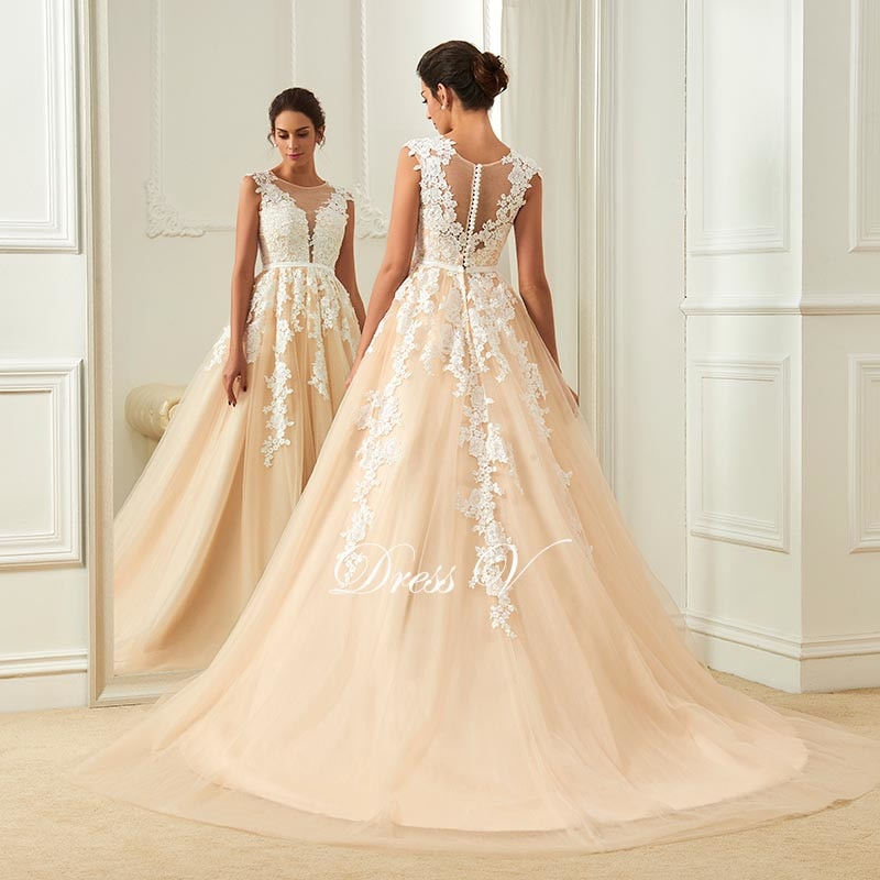 aline wedding gowns awesome dressv champagne wedding dress scoop neck a line appliques court
