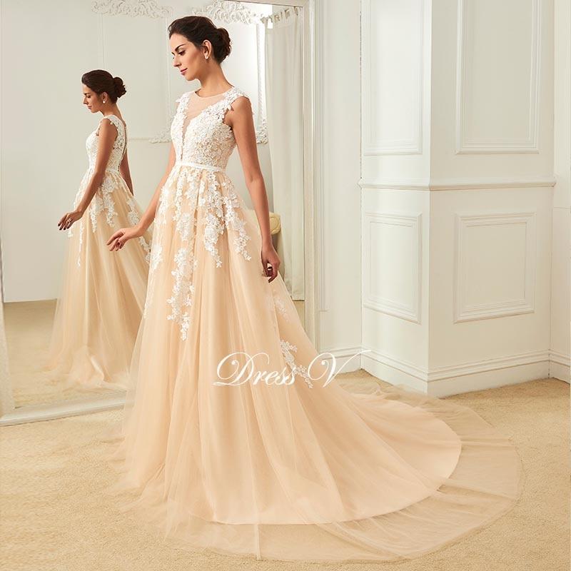 aline wedding gowns best of dressv champagne wedding dress scoop neck a line appliques court