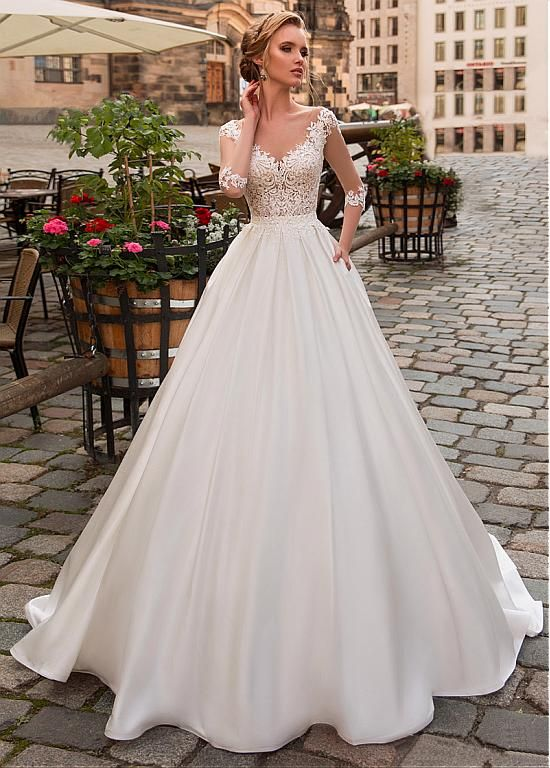 Scoop Neckline Wedding Dresses Lovely Magbridal Modest Tulle & Satin Scoop Neckline A Line Wedding