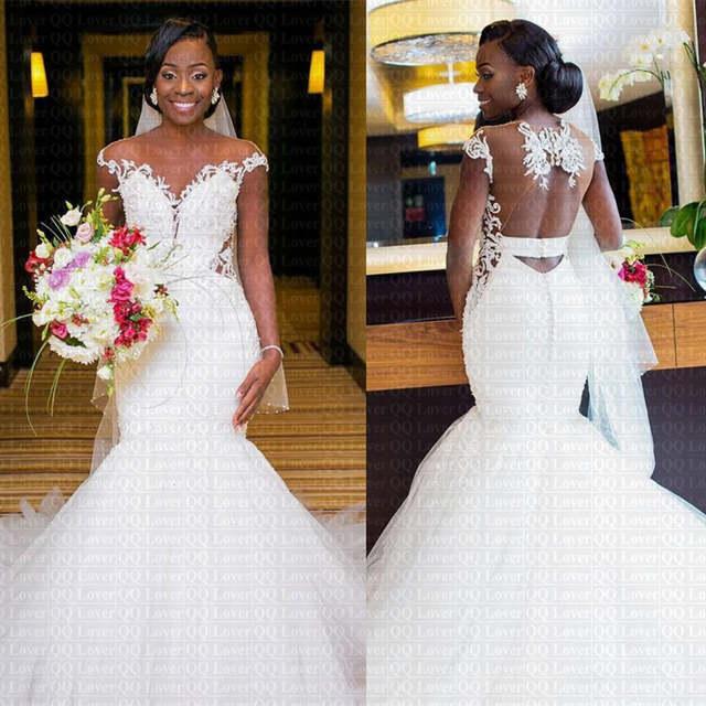 2019 New African Appliques Mermaid Wedding Dress y Sheer Back Bridal Gowns Vestido De Novia 640x640q70