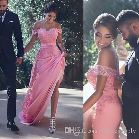 Sexy Wedding Guest Dresses Best Of Y F the Shoulder Pink Bridesmaid Dresses Long with Lace Appliques Sash A Line Wedding Guest Dress Maid Of Honor Cheap Bridesmaids Gowns