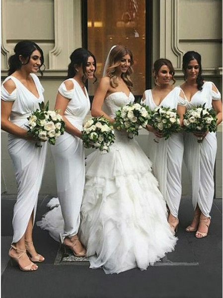 Sheath Bridesmaid Dress Elegant White Ruched Sheath Bridesmaid Dress 2019 Cheap Arabic Short Sleeve formal Party Gown Wedding Guest Dresses Bridesmaid Dress Colors Bridesmaid Dress