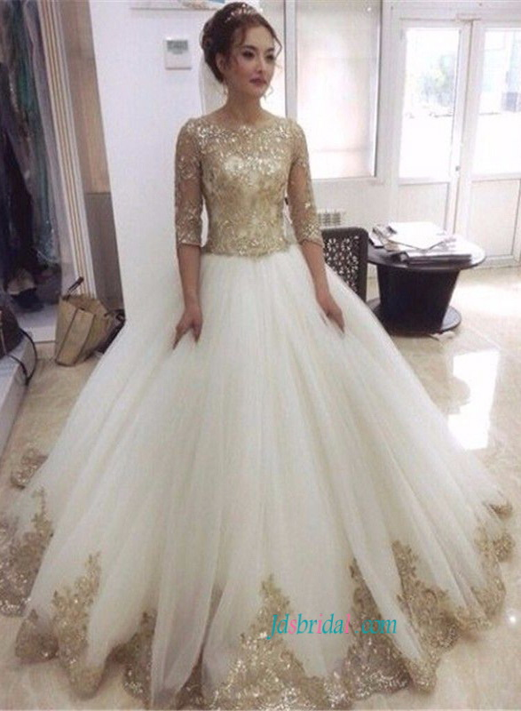H1473 glitter bling white and gold princess wedding dress with half length sleeves