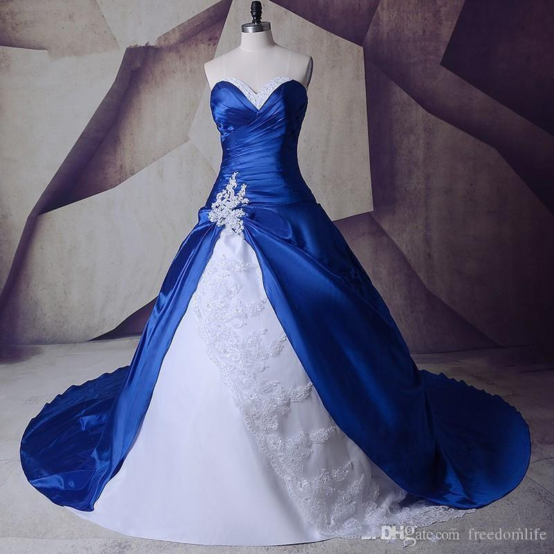 Short Blue Wedding Dress Elegant Discount Fashionable White and Royal Blue Wedding Dresses 2019 A Line Lace Taffeta Appliques Beads Custom Made Crystal Bridal Gowns Classic A Line