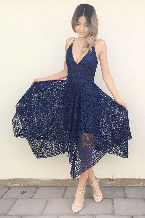 Short Blue Wedding Dress Inspirational A Line Spaghetti Straps asymmetrical Pink Lace Bridesmaid