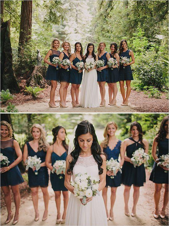 Short Blue Wedding Dress Inspirational Mix and Match Navy Blue Bridesmaids