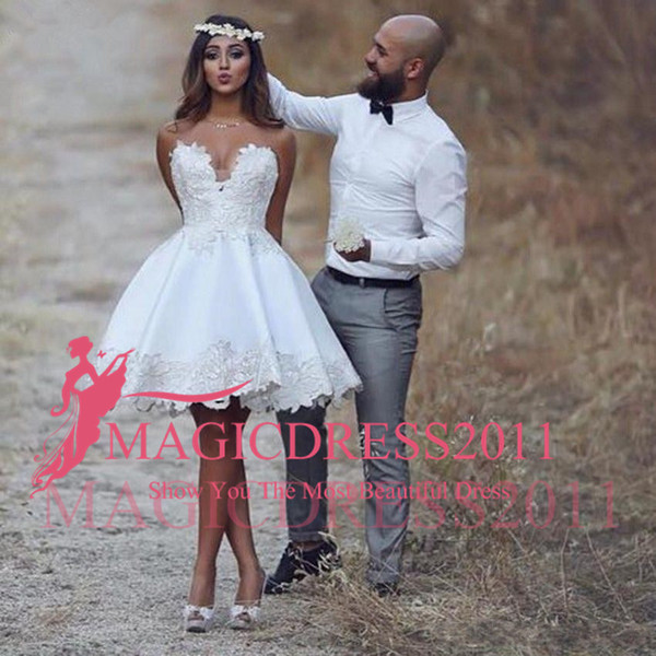 Short Casual Beach Wedding Dresses Awesome Discount 2018 Sweetheart Short Casual Beach Lace Wedding Dress New A Line Bridal Gowns Custom Size Handmade Appliques Best Selling Fashion Romantic