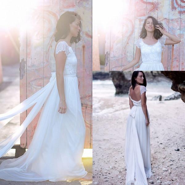 casual beach wedding dress short sleeves backless chiffon boho bohemian wedding dresses bride gowns vestido de noiva praia