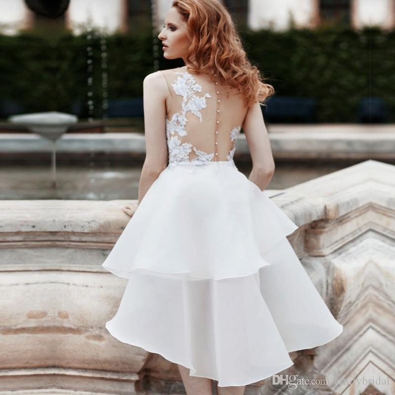 high low white organza short beach wedding