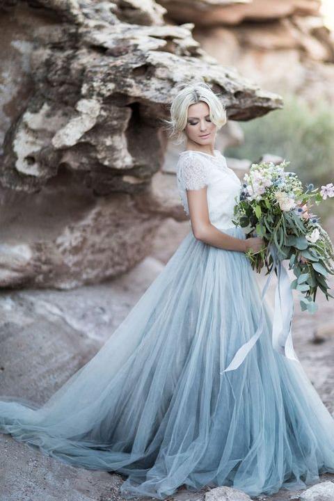 Short Chiffon Wedding Dresses Beautiful Elegant Short Sleeves Lace Tulle Prom Dresses Beach Wedding