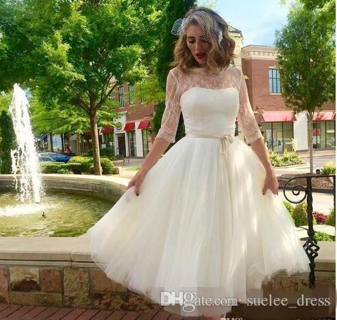 Short Chiffon Wedding Dresses Luxury Vintage A Line Tea Length Short Wedding Dresses 3 4 Long Sleeves Lace Tulle Sheer Neck Lace Sash Cheap Wedding Bride Gowns Vestido De Novia