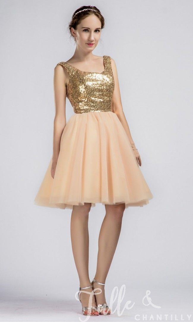 Short Gold Dresses for Wedding New Sparkling Short Gold Sequined Prom Bridesmaid Dress with