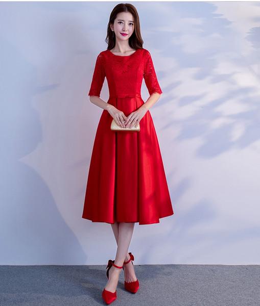 Short Red Bridesmaids Dresses Elegant Short Red Modest Bridesmaid Dresses with Short Sleeves Lace top Satin Skirt Vintage Tea Length Women Informal Wedding Party Dress Custom Bridesmaid