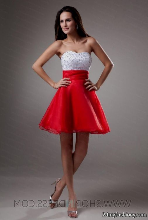 wpid short red and white bridesmaid dresses 2016 2017 3