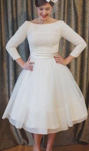 Short Wedding Dresses with Long Sleeves Inspirational Discount Vintage Short Wedding Dresses with Long Sleeves Tea Length Simple Wedding Bridal Gown Plus Size Vestido De Nova Ball Gown Dresses Bridal