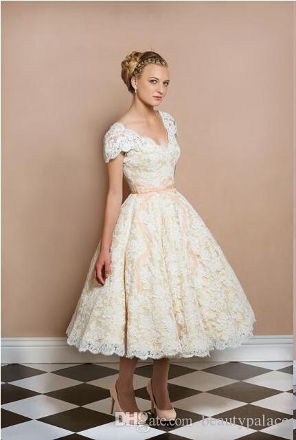 1950 039 s tea length vintage wedding dresses