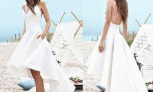 27 Luxury Short White Beach Wedding Dresses