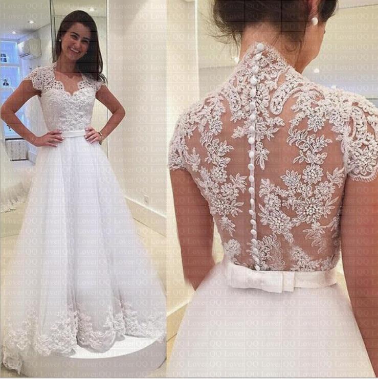 2019 Newest V neck Short Sleeve Bow Belt Button A Line Wedding Dress Quality Custom made