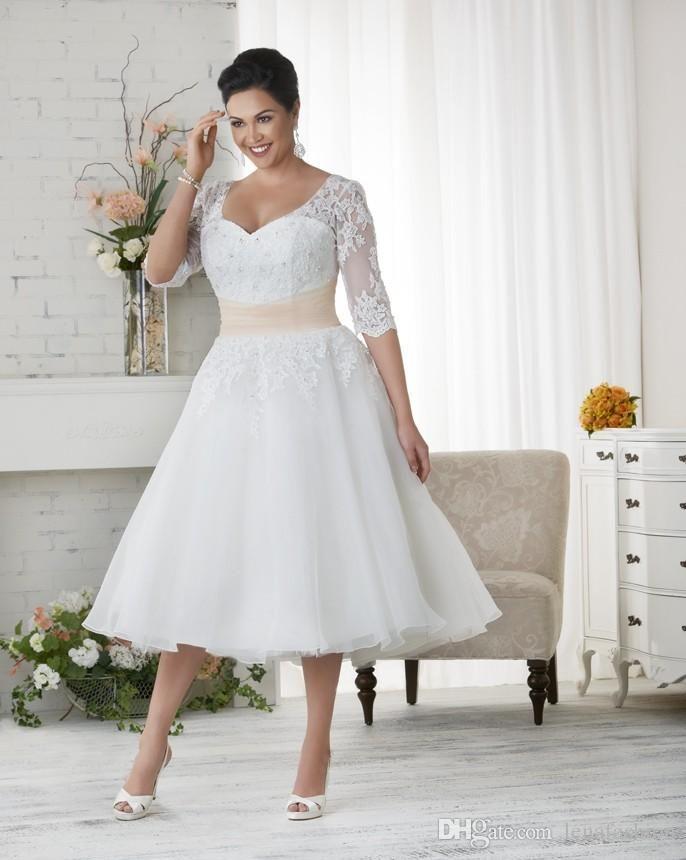 Short White Wedding Dresses Plus Size Best Of Discount Elegant Plus Size Wedding Dresses A Line Short Tea