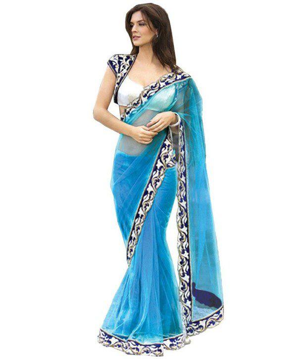 Designer saree Blue Cotton Silk SDL 1 30dd4