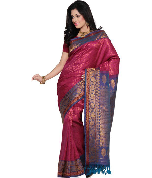 Pink Pure Handloom Gadwal Silk SDL 1