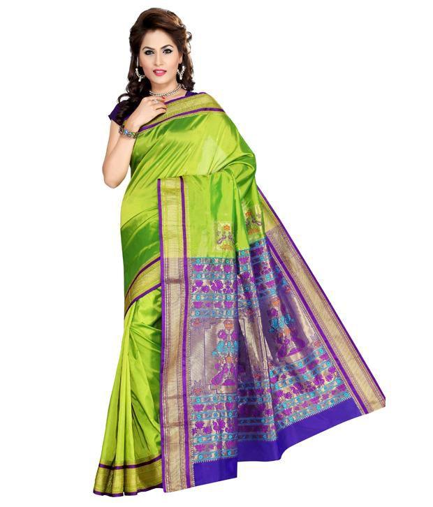 Ishin Green Art Silk Paithani SDL 1 b72db