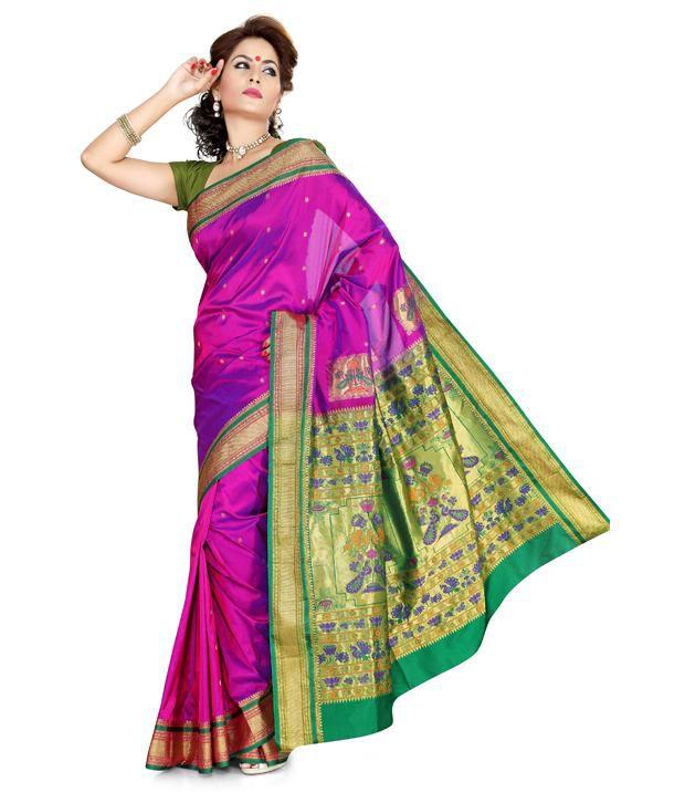 Ishin Pink Art Silk Paithani SDL 1 d34df