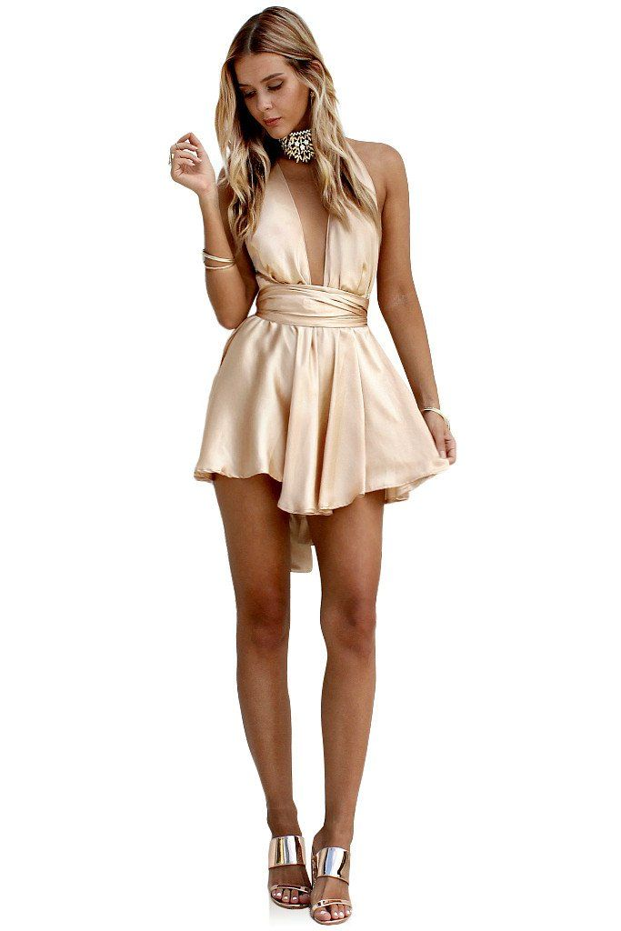 Silky White Dresses Inspirational Satin Silk Champagne Teaser Mini Dress – Sisters the Label