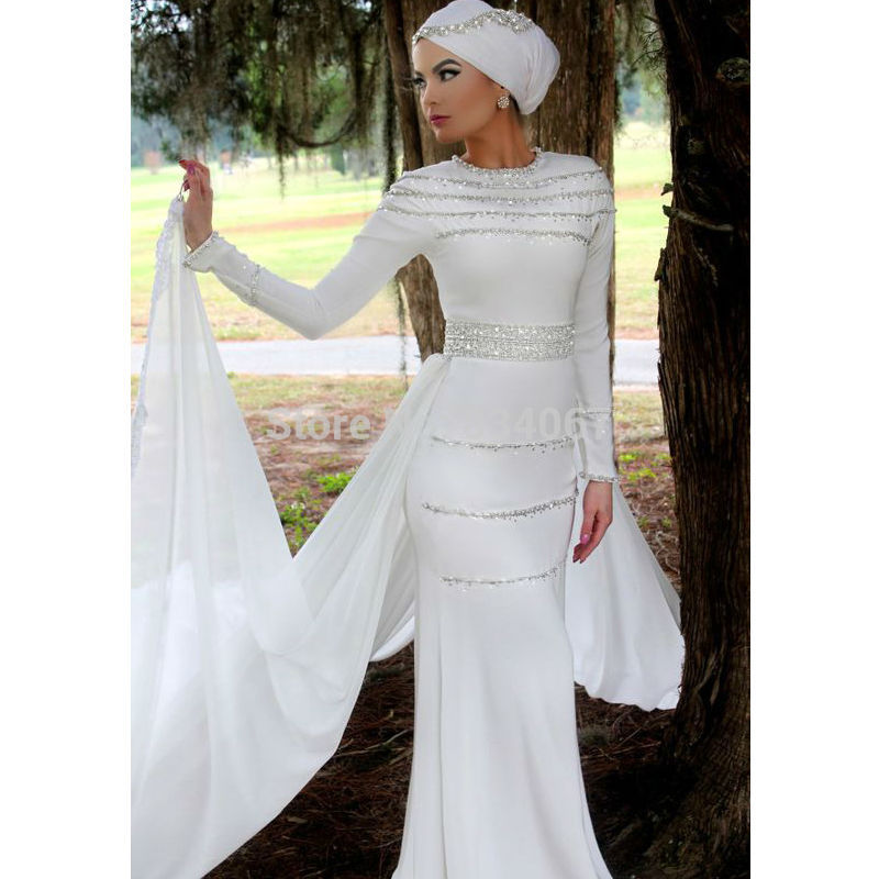 Spandex Long Sleeves Islamic font b Wedding b font font b Dress b font font b