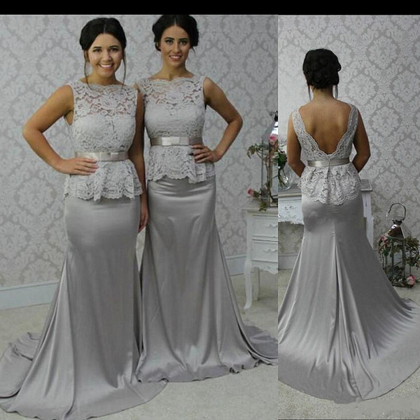 Silver Dresses for Wedding Best Of Glamorous Scoop Mermaid Silver Stretch Satin Court Train Open Back Bridesmaid Dress Wedding Party Dresses Wedding Dresses for Brides Wedding Mermaid