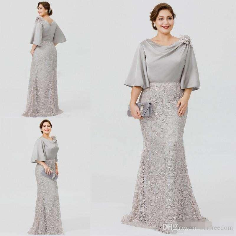 Silver Dresses for Wedding Guests New 2019 New Silver Elegant Mother the Bride Dresses Half Sleeve Lace Mermaid Wedding Guest Dress Plus Size formal evening Gowns