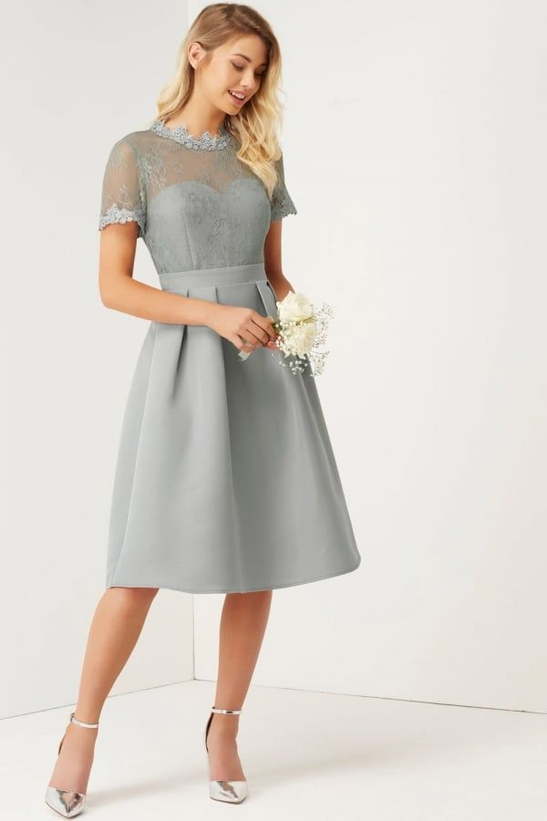 Silver Dresses for Wedding Luxury Grey High Neck Lace Dress Grey Wedding In 2019