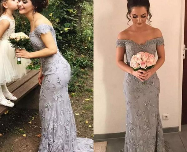 Silver Dresses for Wedding Unique Exquisite 2018 Silver Lace F the Shoulder Mermaid Wedding Dresses with Beads Crystals Long Bridal Gowns Custom Made From China En Beautiful