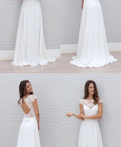 Simple A Line Wedding Dresses New Simple A Line Beach Wedding Dresses Sheer Lace Appliques