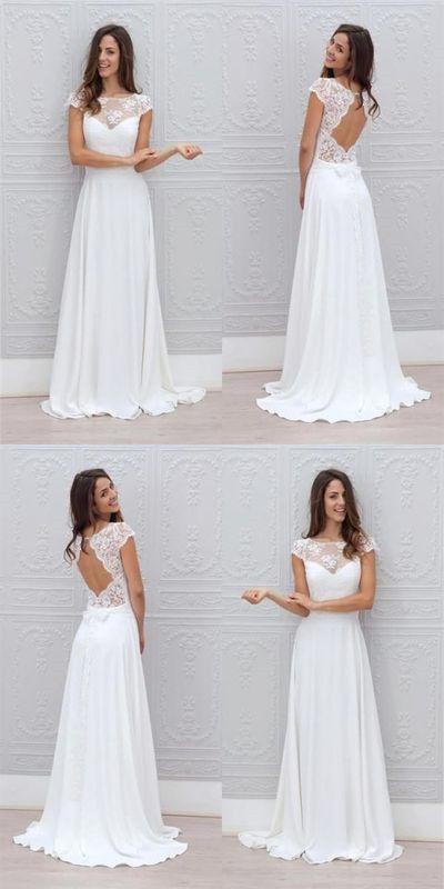 Simple A Line Wedding Dresses New Simple A Line Beach Wedding Dresses Sheer Lace Appliques
