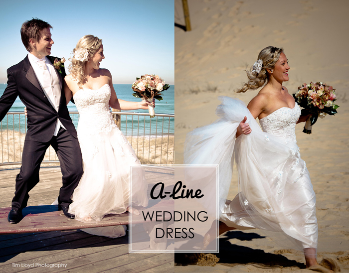 3 A line wedding dress out e Sal